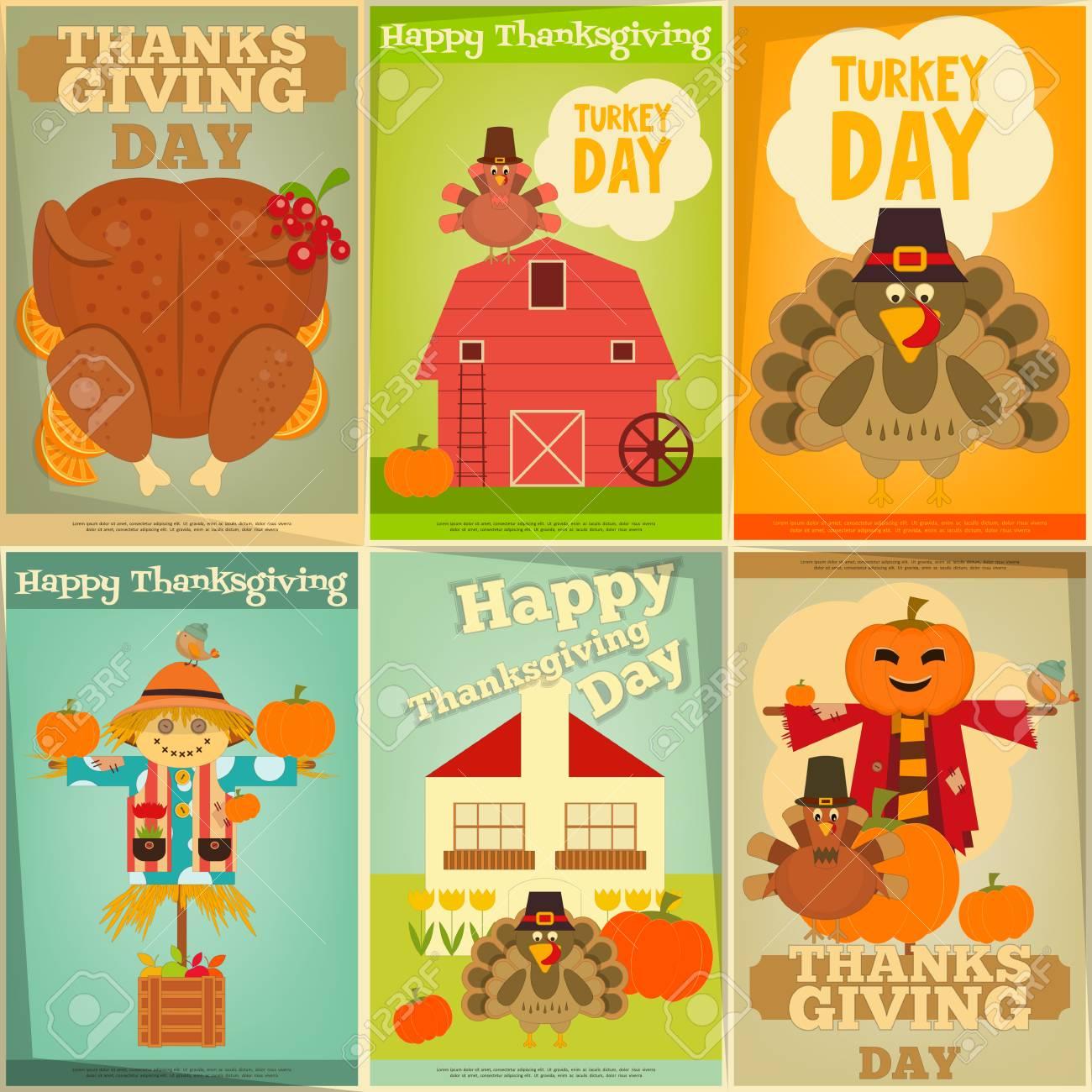 Happy Thanksgiving Greeting Card Set Of Vintage Turkey Day Mini