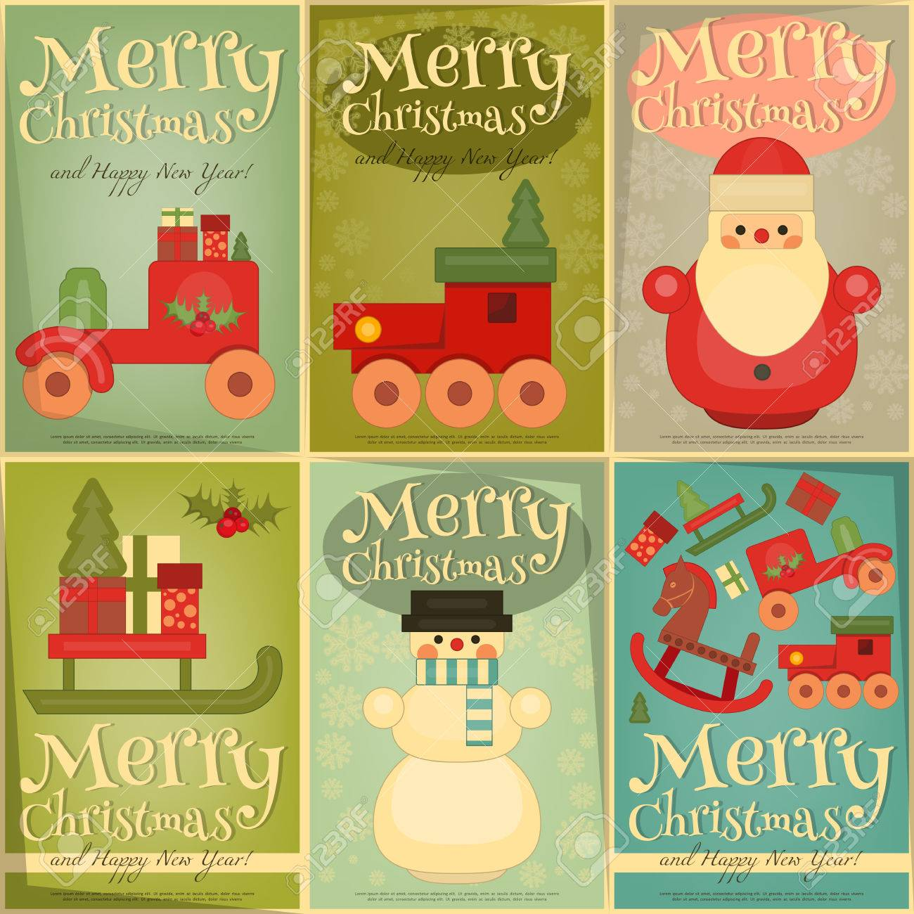 Merry Christmas and Happy New Year Posters Set in Retro Style. Vintage Toys  Collection -