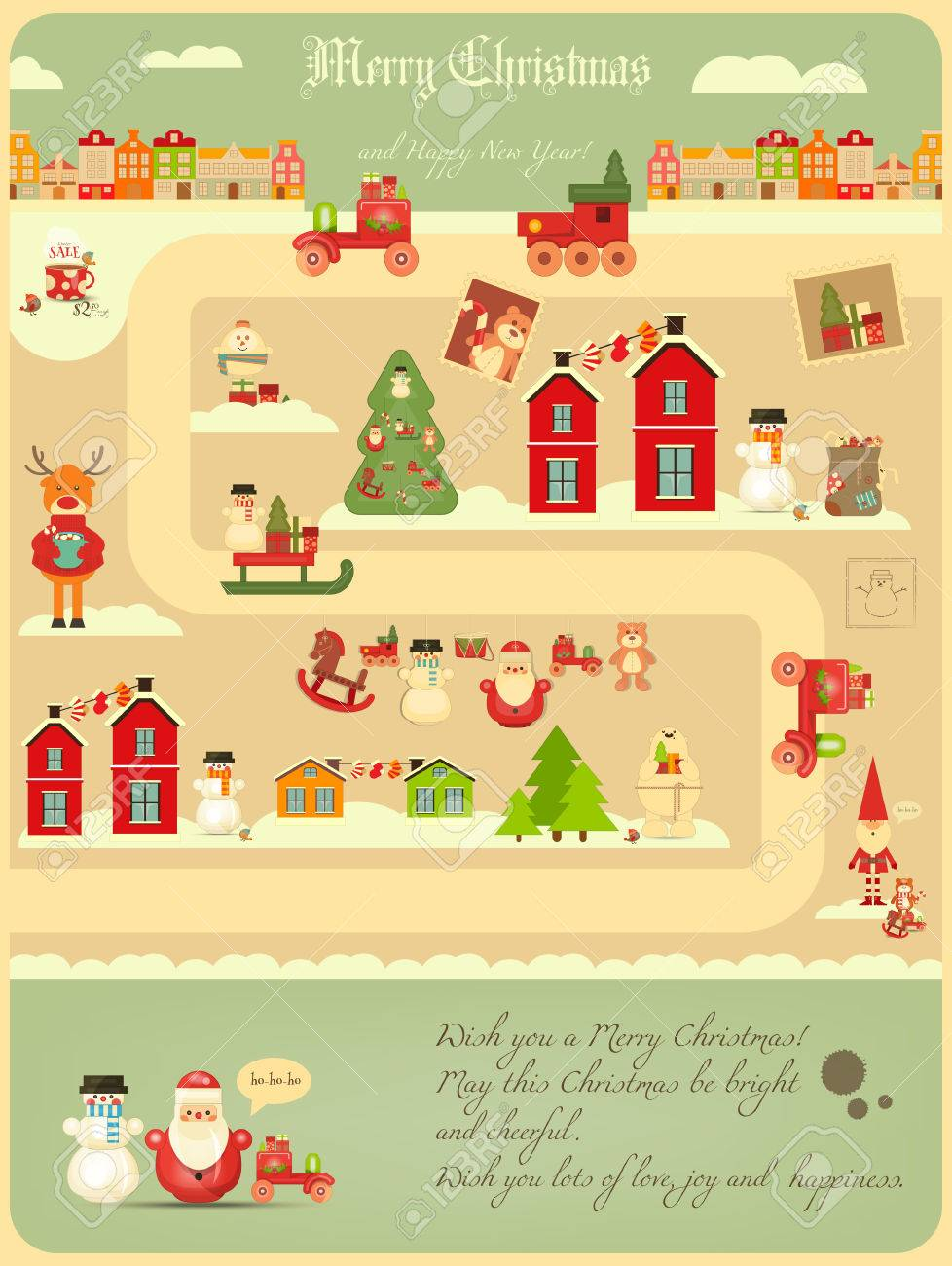 Christmas characters on City Map. Cute Santa Claus, Polar Bear,.. on oolitic map, oats map, tell city map, gulf of antalya on a map, headless horseman map, splashin safari map, santa and his reindeer, north pole map, track santa map, christmas map,