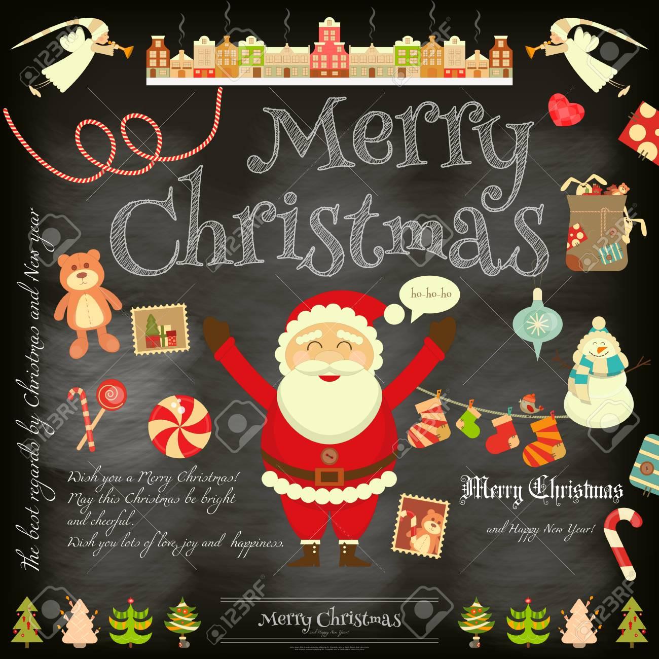 Immagini Babbo Natale Vintage.Poster Di Natale In Stile Retro Su Sfondo Di Lavagna Babbo Natale E Simboli Di Natale Su Vintage Greeting Card Illustrazione Vettoriale