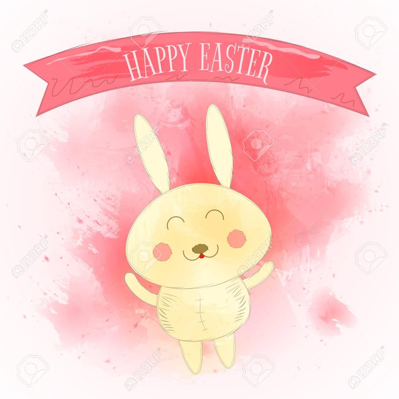 Frohe Ostern Grußkarte Mit Niedlichen Kaninchen Und Aquarell