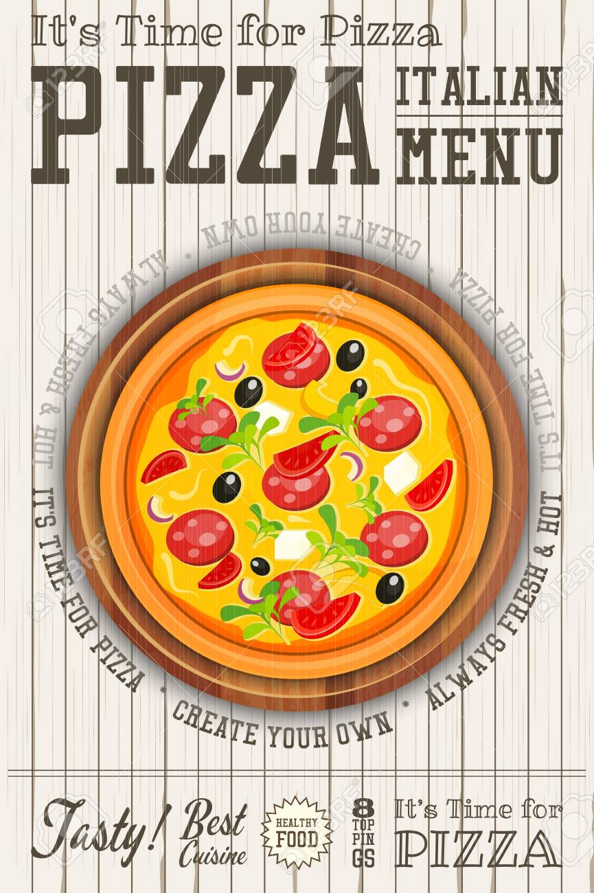 Traditional Italian Food Poster - Pizza, Pizza Cutter and Cake
