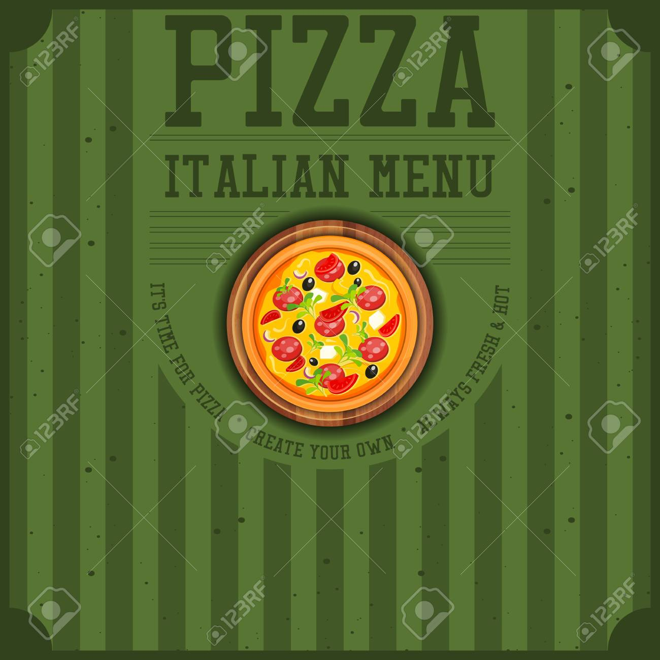 Pizza Cover Menu Or Box For Delivery Vintage Style Square Format Vector