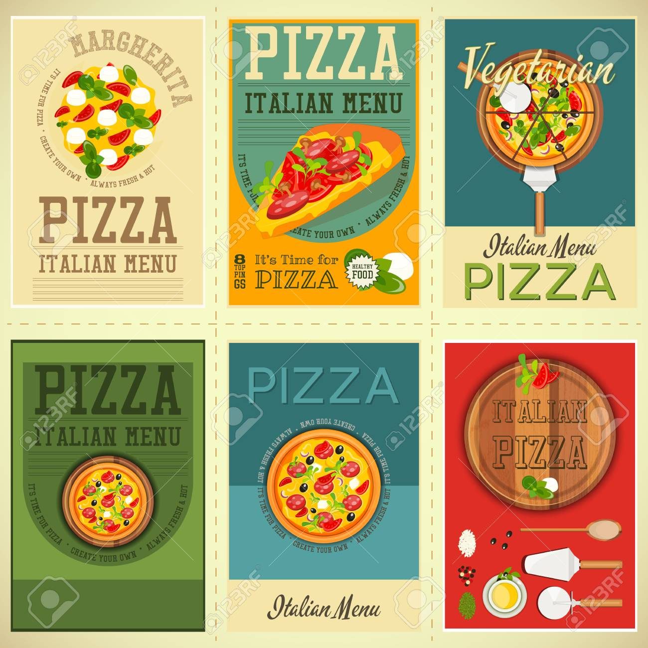 Traditional Italian Food Posters Set