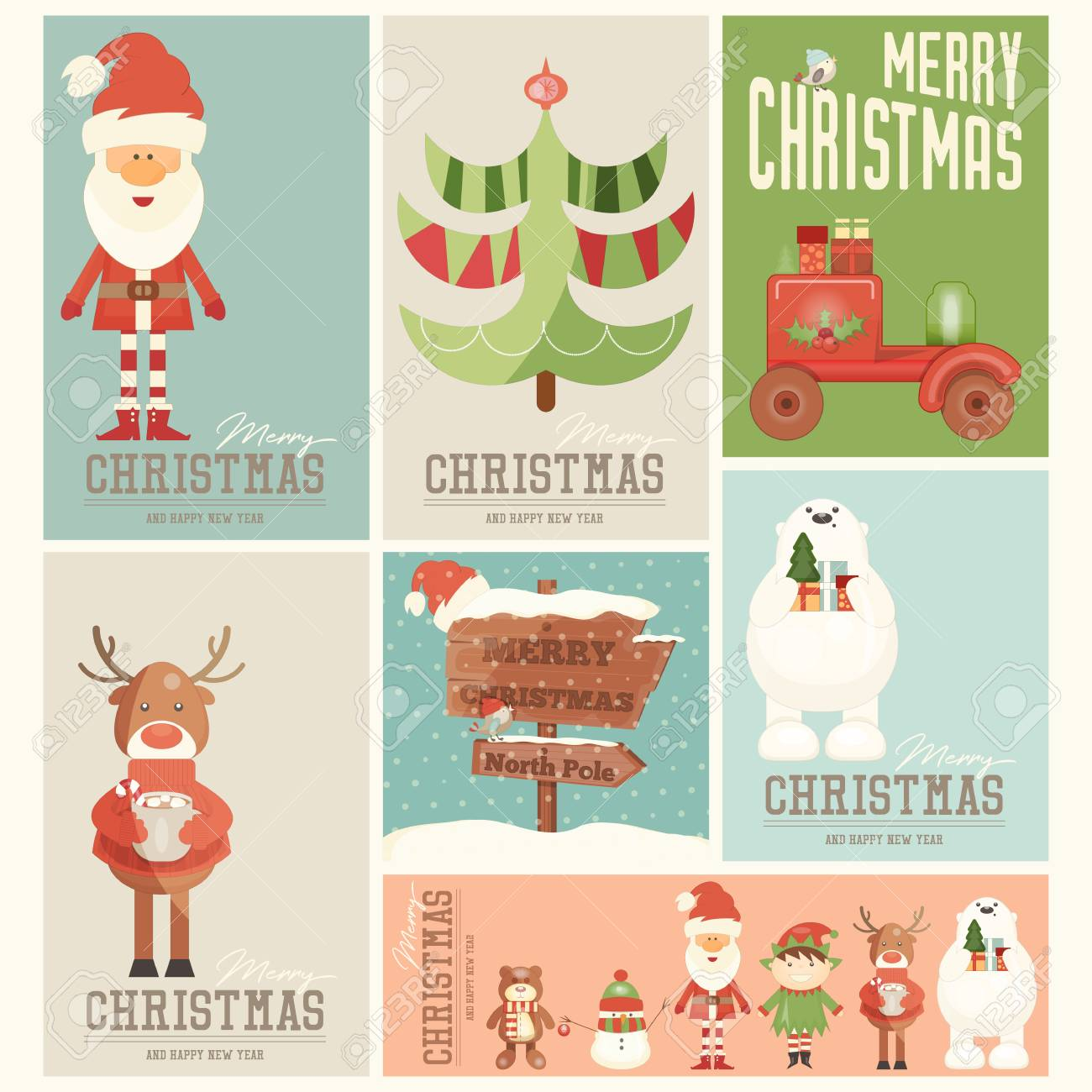 Christmas Posters.Merry Christmas Posters Set Santa Claus And Xmas Characters