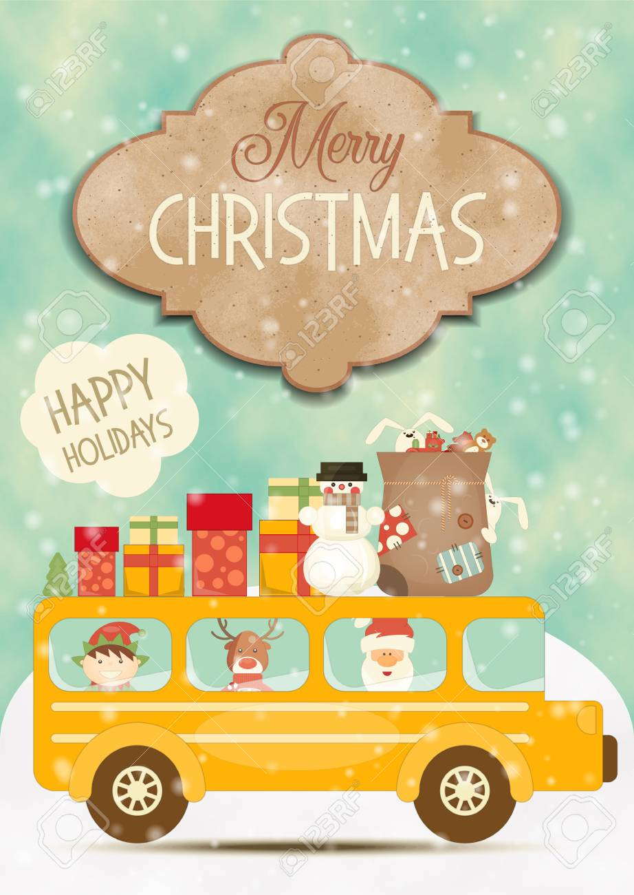 Merry christmas greeting card xmas bus with cute holidays merry christmas greeting card xmas bus with cute holidays characters on winter landscape vector kristyandbryce Gallery