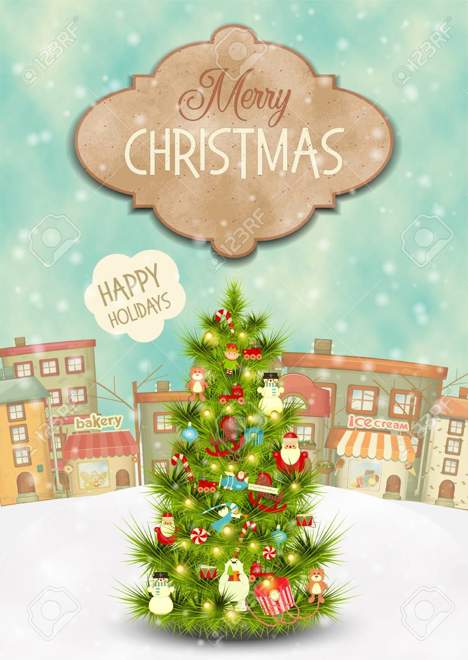Merry Christmas Greeting Card Beautifully Decorated Christmas