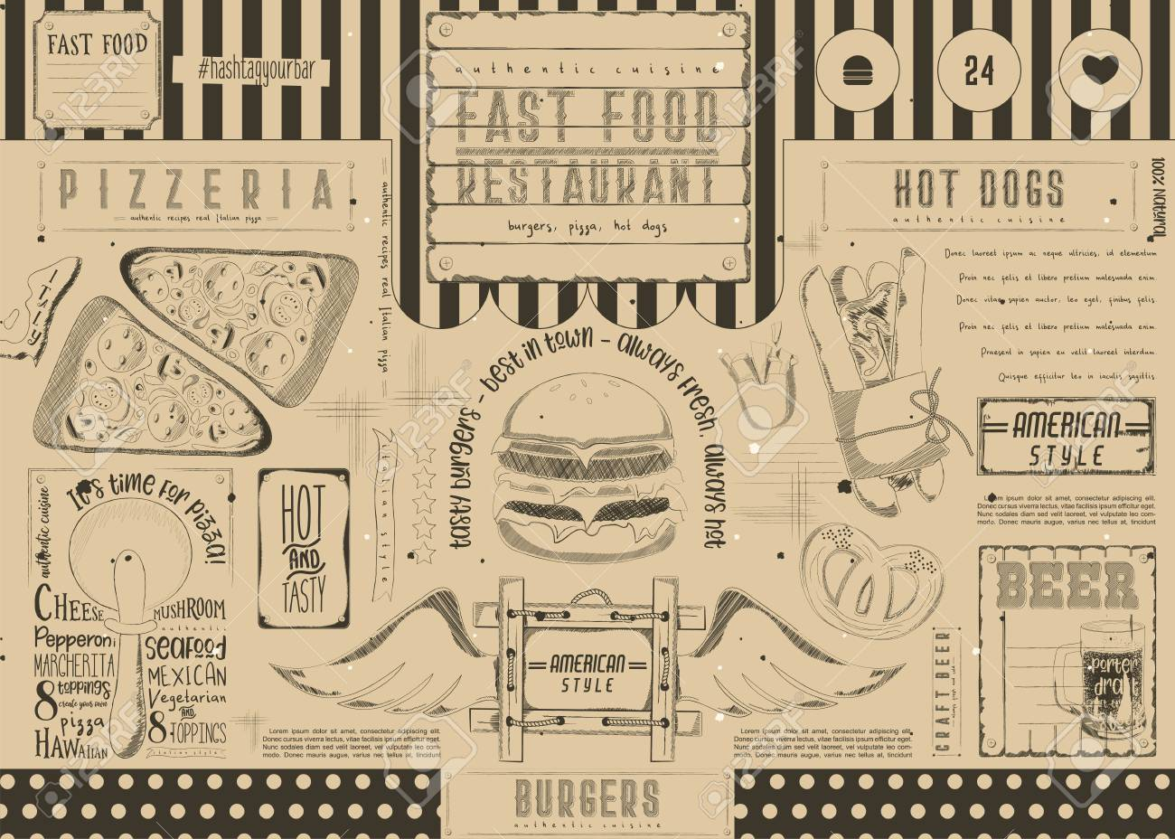 Beer And Fast Food Pizza And Hot Dog Drawn Menu Design Craft