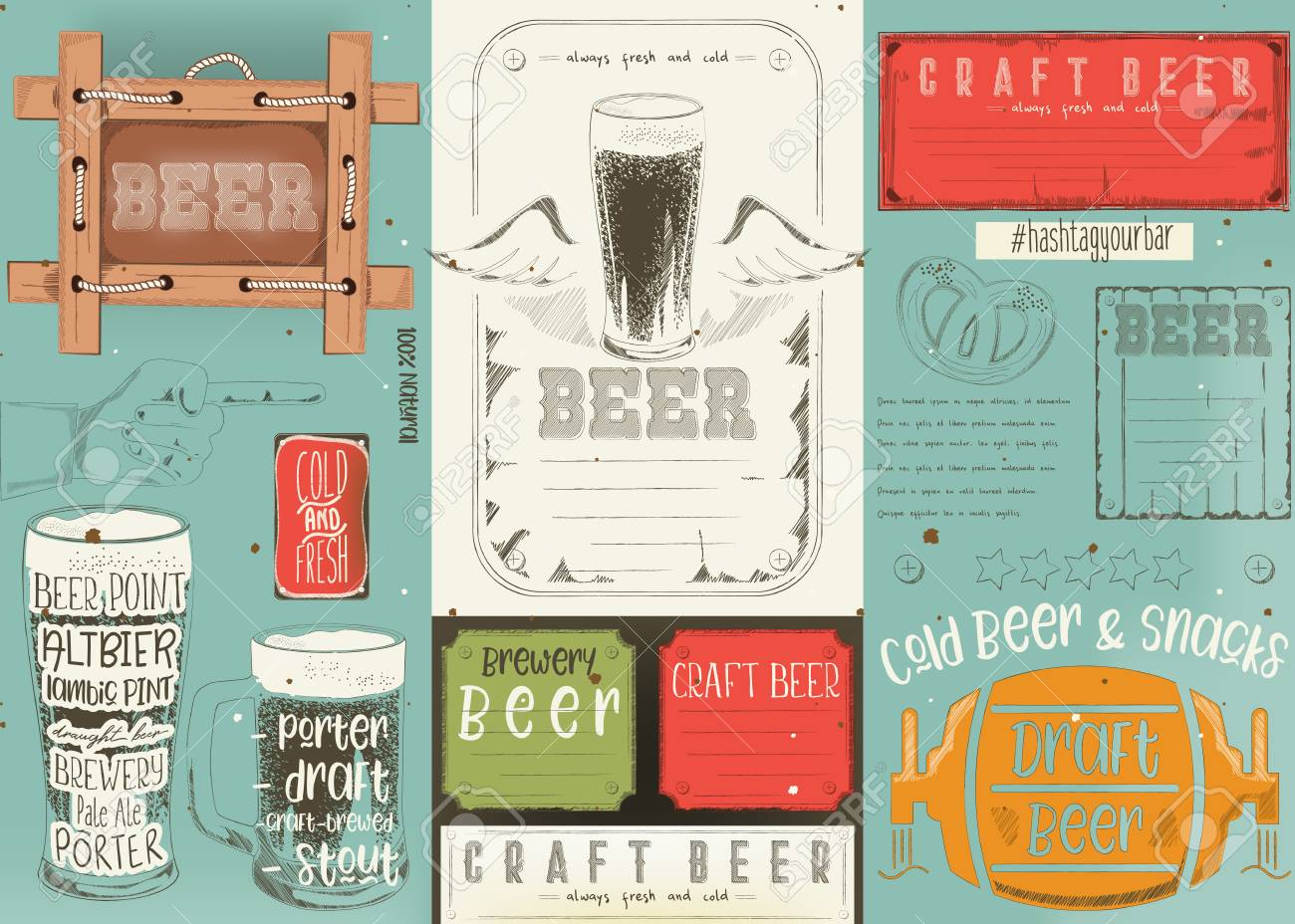 Beer Drawn Menu Design Craft Beer Placement For Restaurant