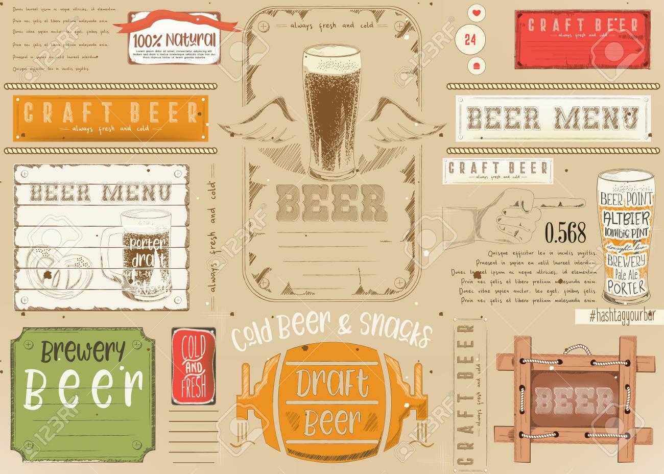 Beer Drawn Menu Design Craft Beer Placemat For Restaurant Bar