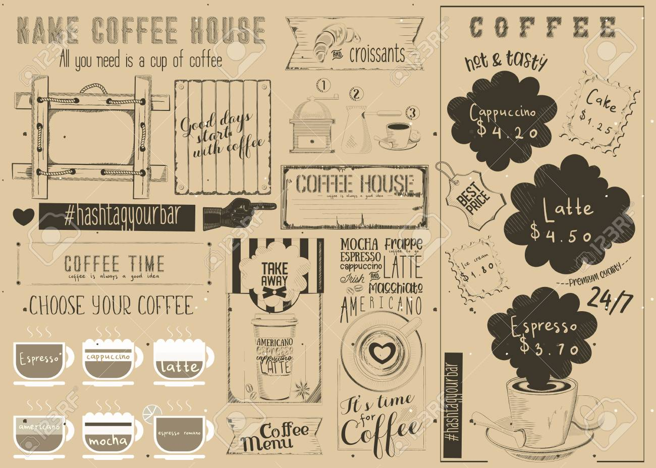 Coffee menu placemat design craft template for coffee shop and coffee menu placemat design craft template for coffee shop and cafeteria retro style table ccuart Choice Image