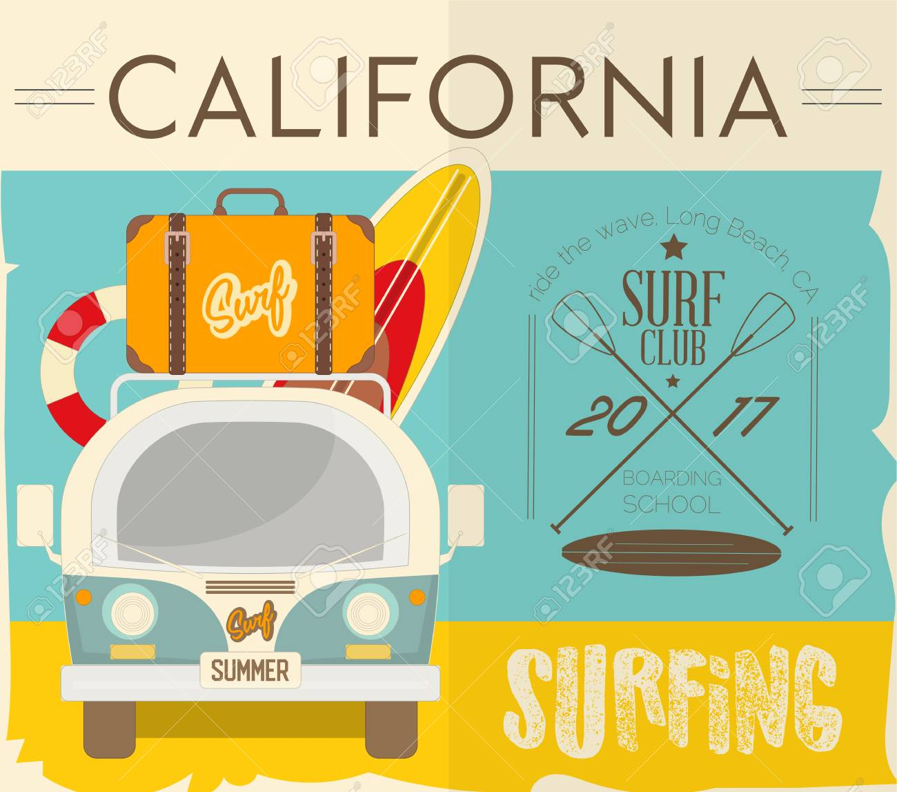 Surf Retro Hawaii Poster Mini Van With Surfboards And Vintage
