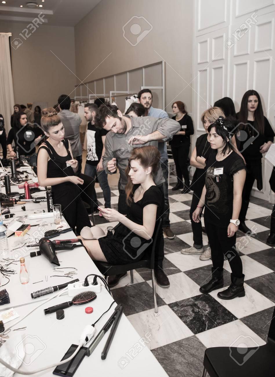 Make up, Nackstage, Fashion show, Zappion, Athens, Greece, 11 January 2015 - 35730027