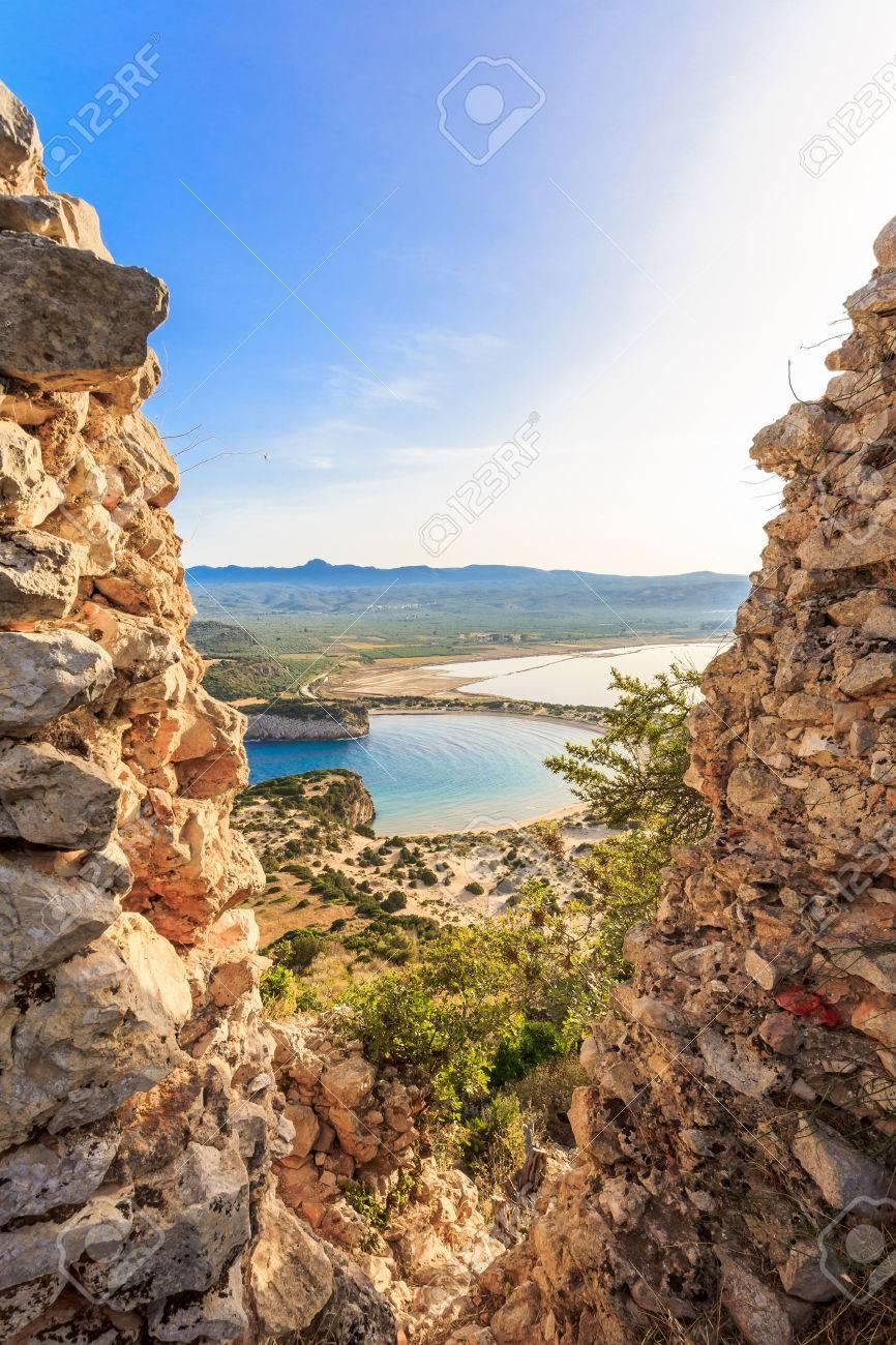 view on Voidokilia beach from Paleokastro, Messenia - 68039179