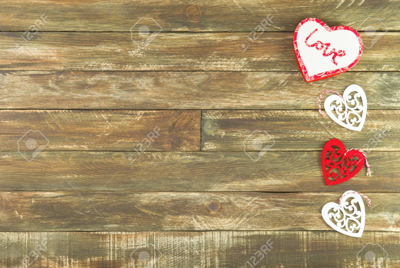 Red And White Hearts Hanging Over Brown Wooden Background Romantic