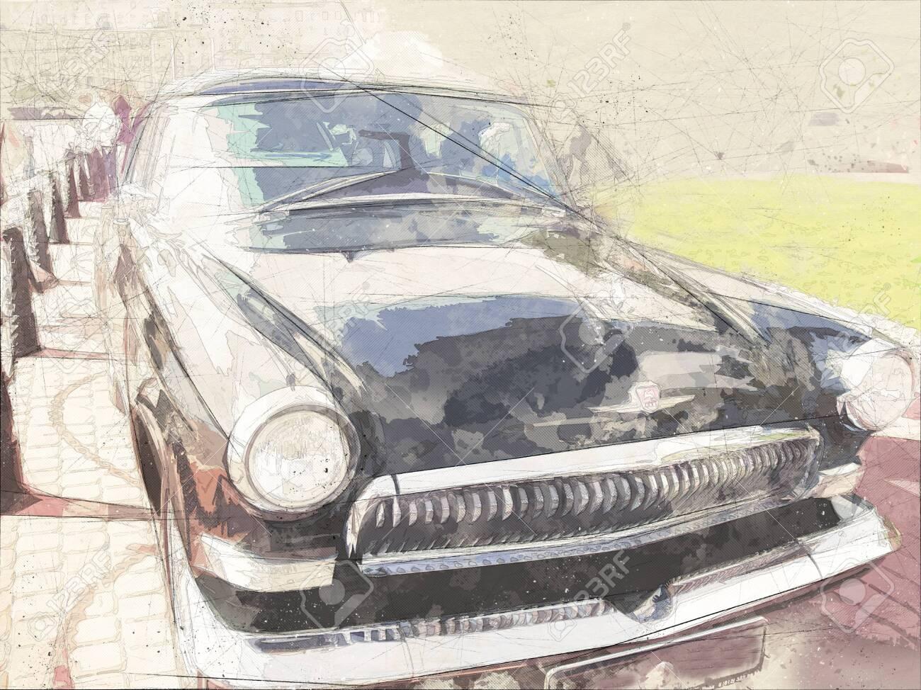Watercolor postcard of Retro car, watercolor hand drawn , retro-mobile - 150121056
