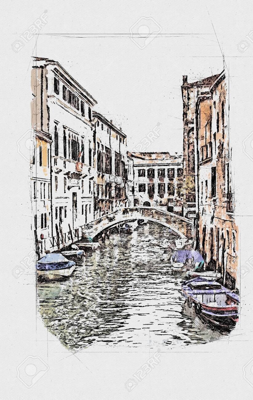 Beautiful venetian street in summer day, Italy - 151250193