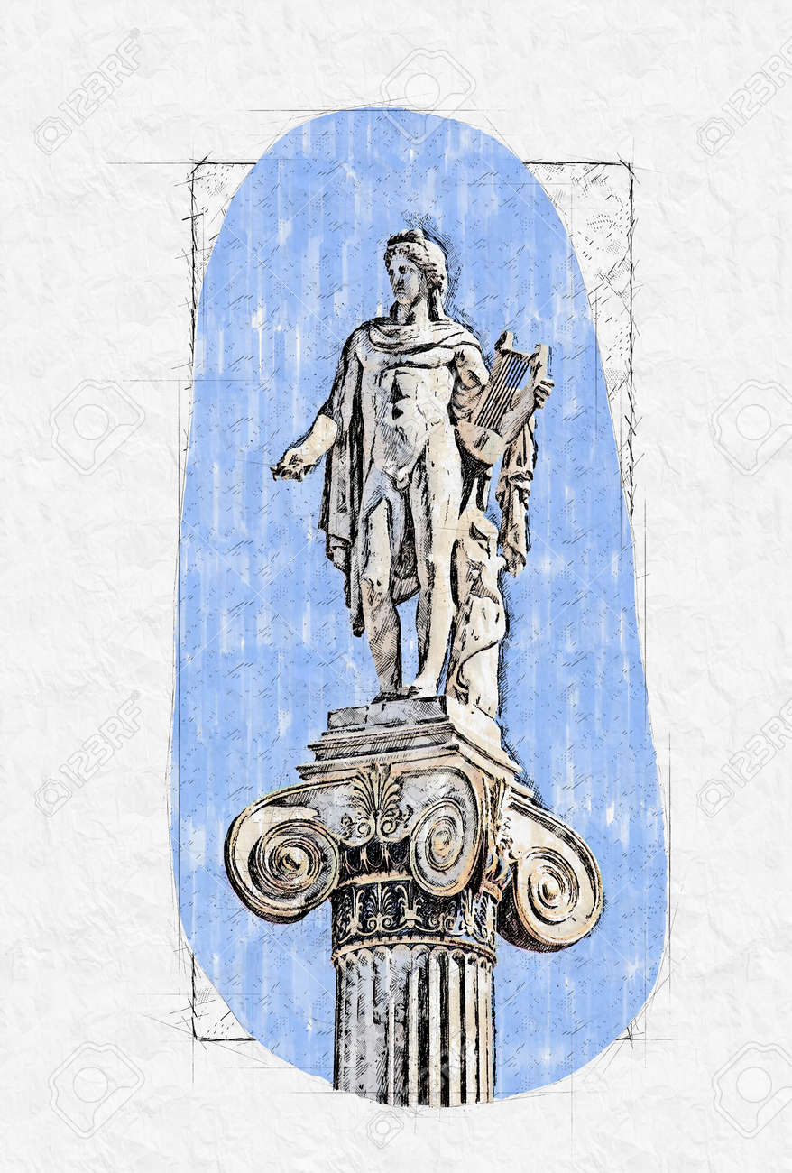 statue of Apollon on the column in fromnt of Athens Academy building - 160135391