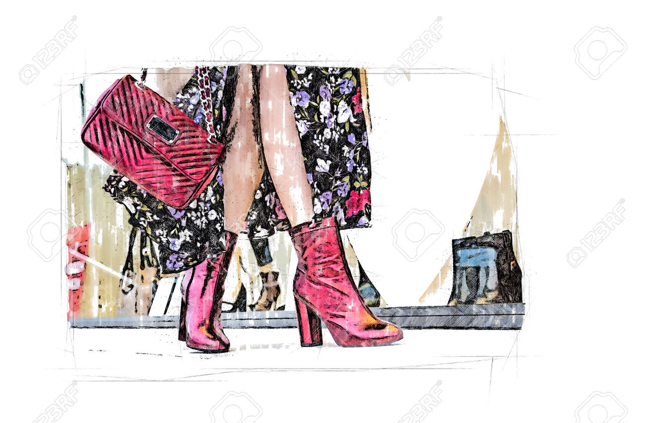 woman legs stepping in front of shop - 160135392