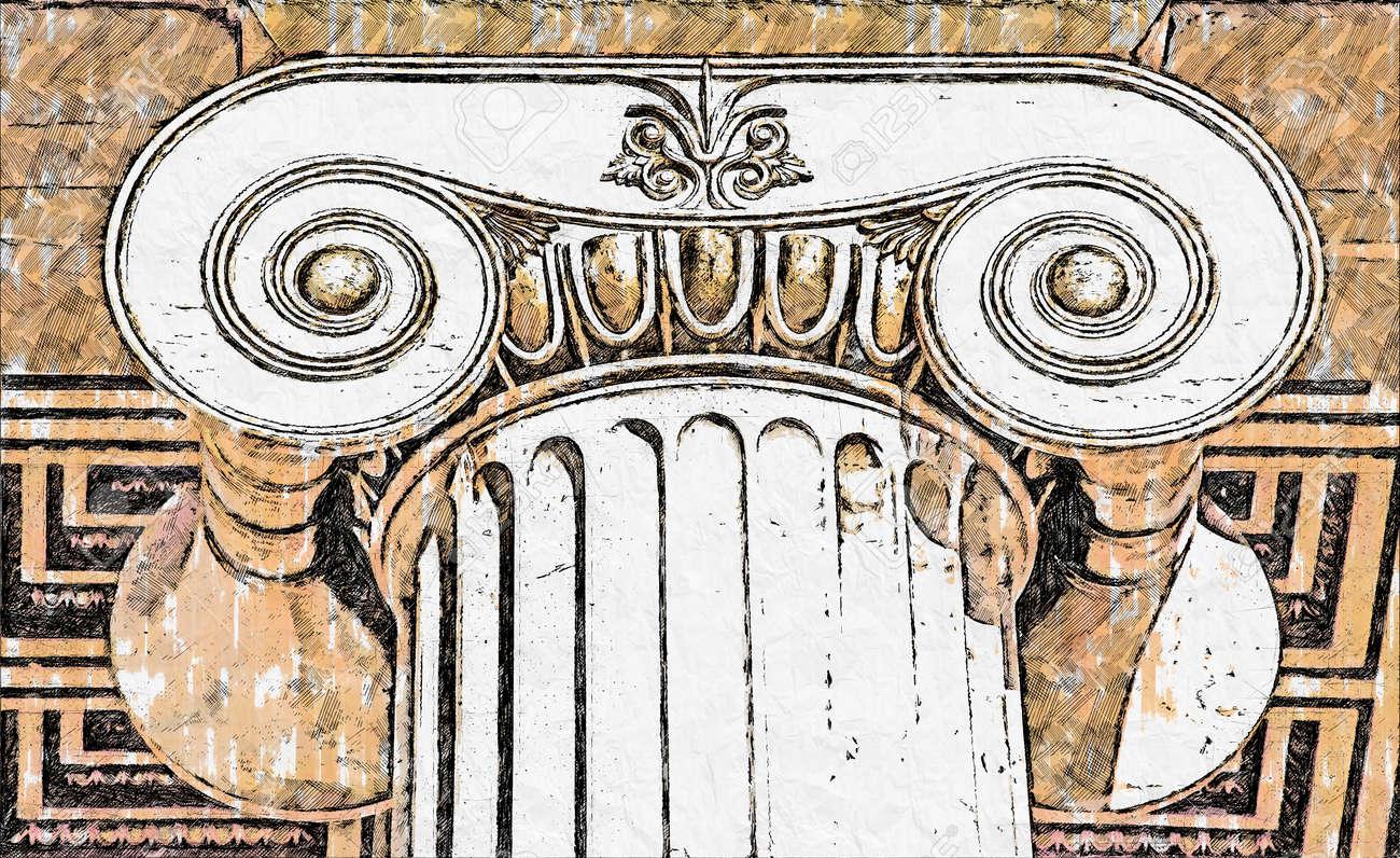 th capital of Ionian column - 160135394