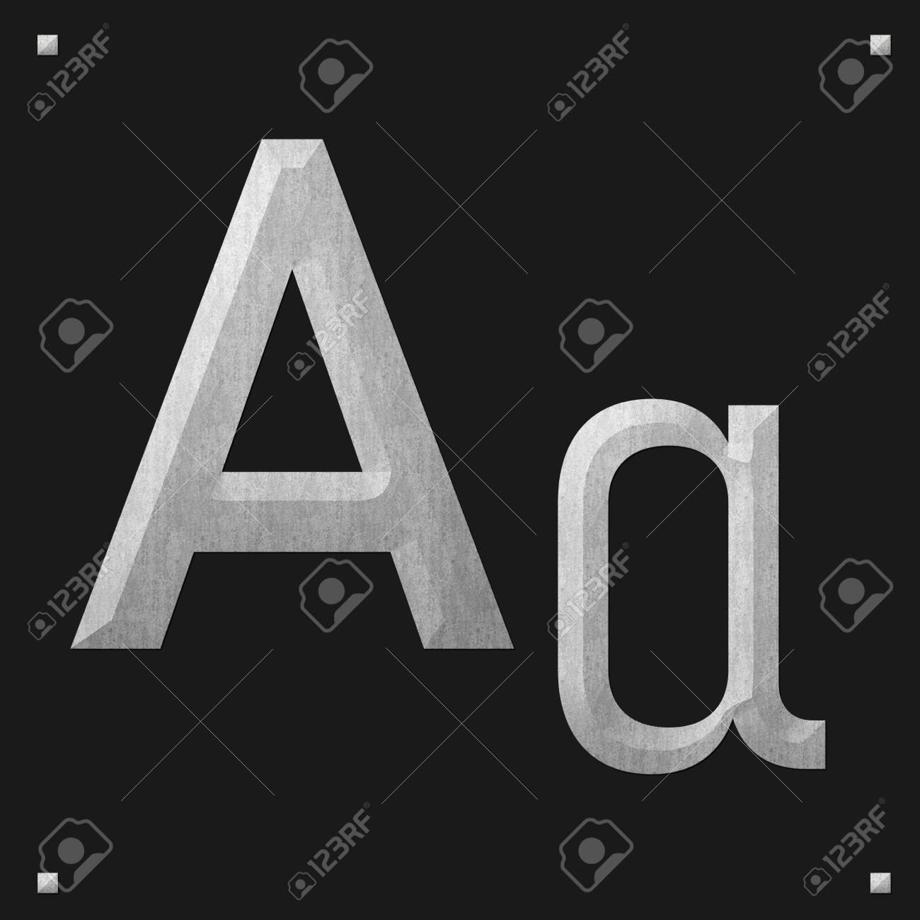 Greek alphabet stone texture, Alpha on dark background - 151682020