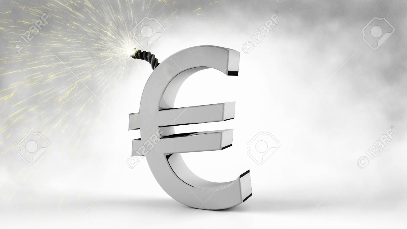 Silver Euro Symbol With A Burning Explosive Fuse Right Before ...