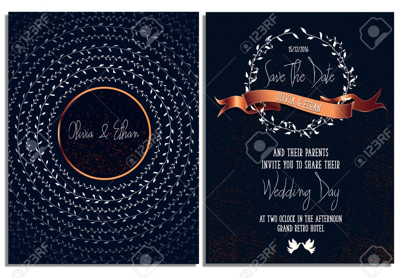 Wedding Invitation Card Template Abstract Floral Background
