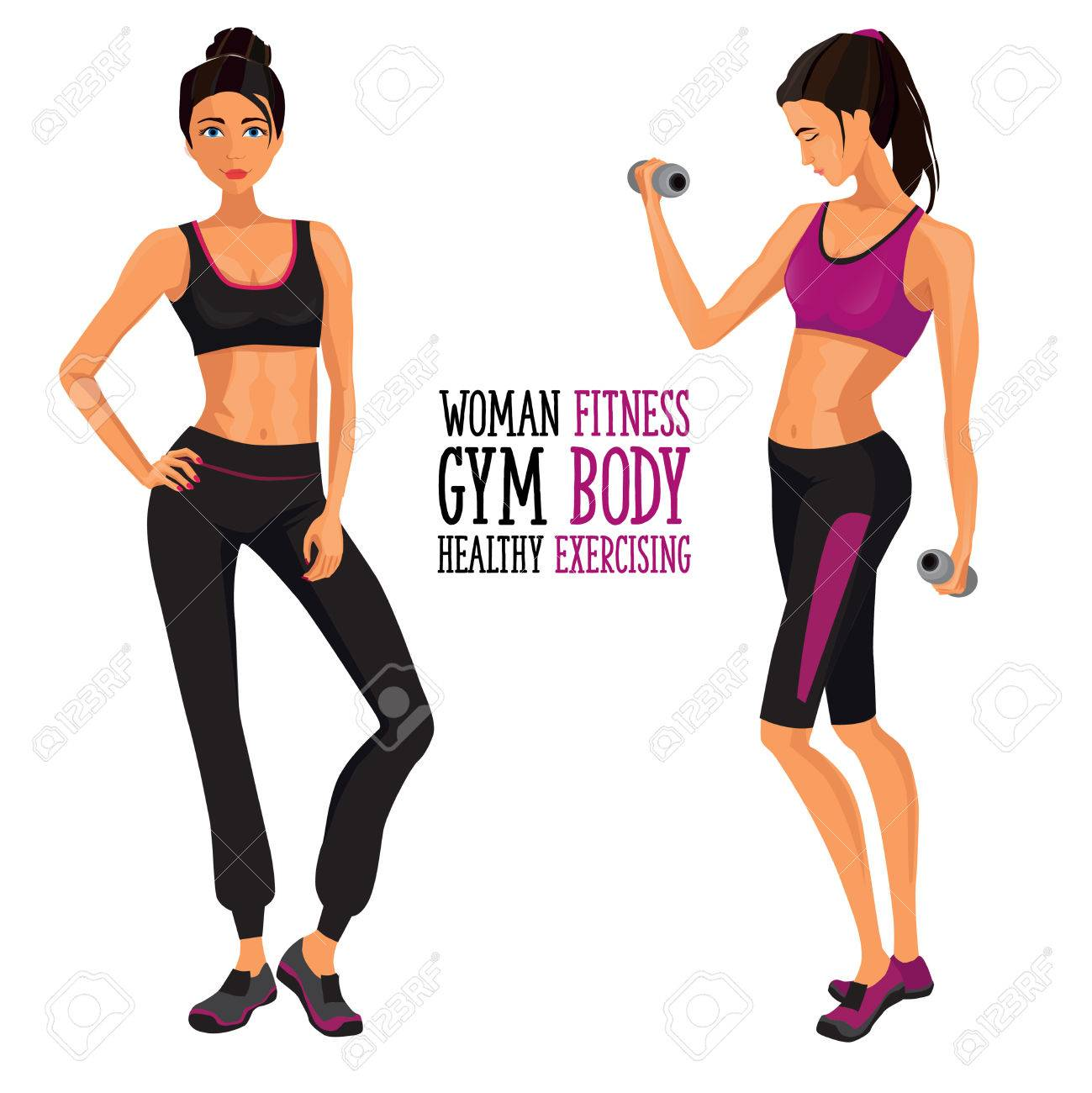 fitness woman . Woman working out with dumbbells in gym - 64435215