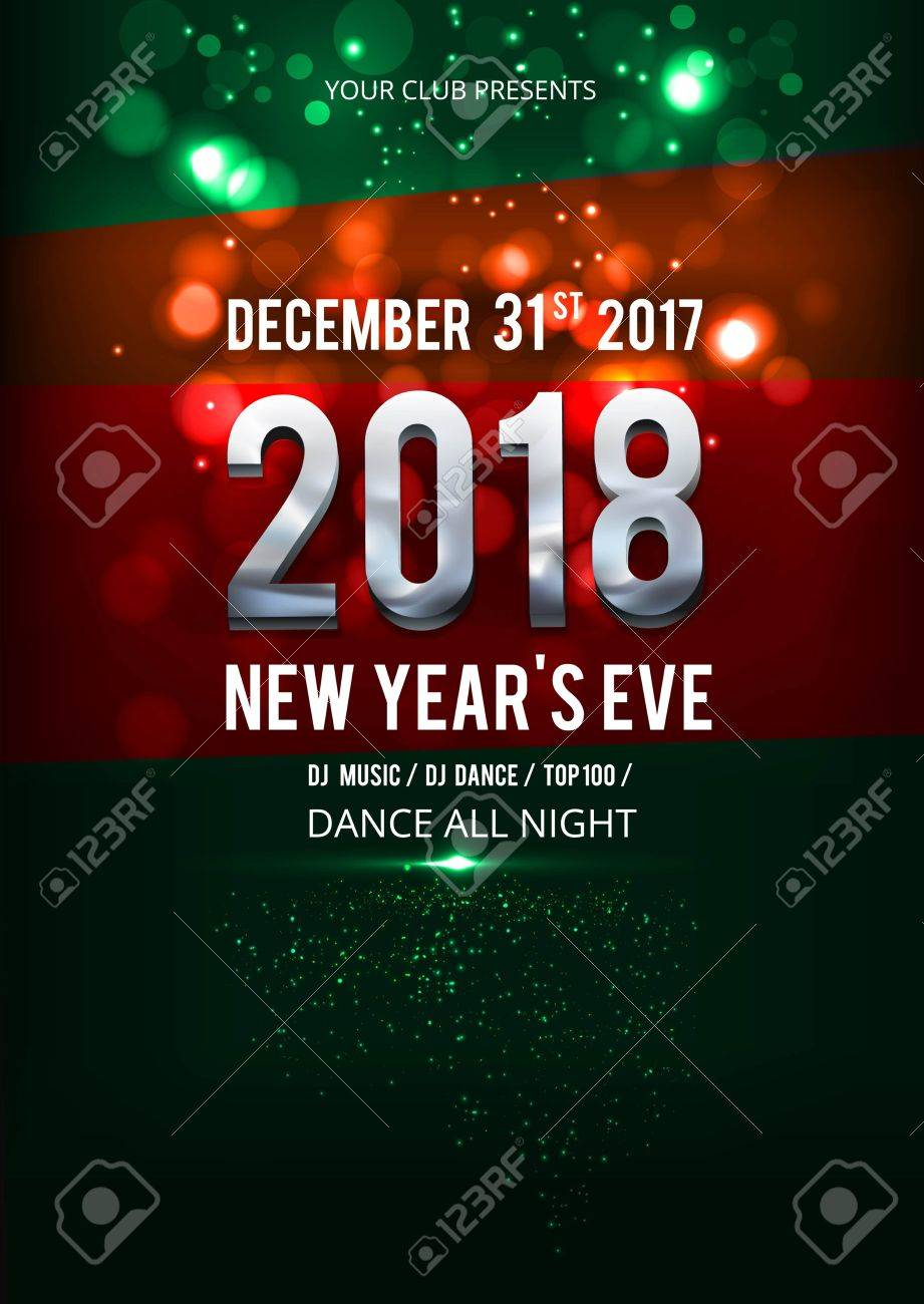 New Year Dance Party Design Banner. Flyer, Poster Template With Bokeh  Lights. Stock