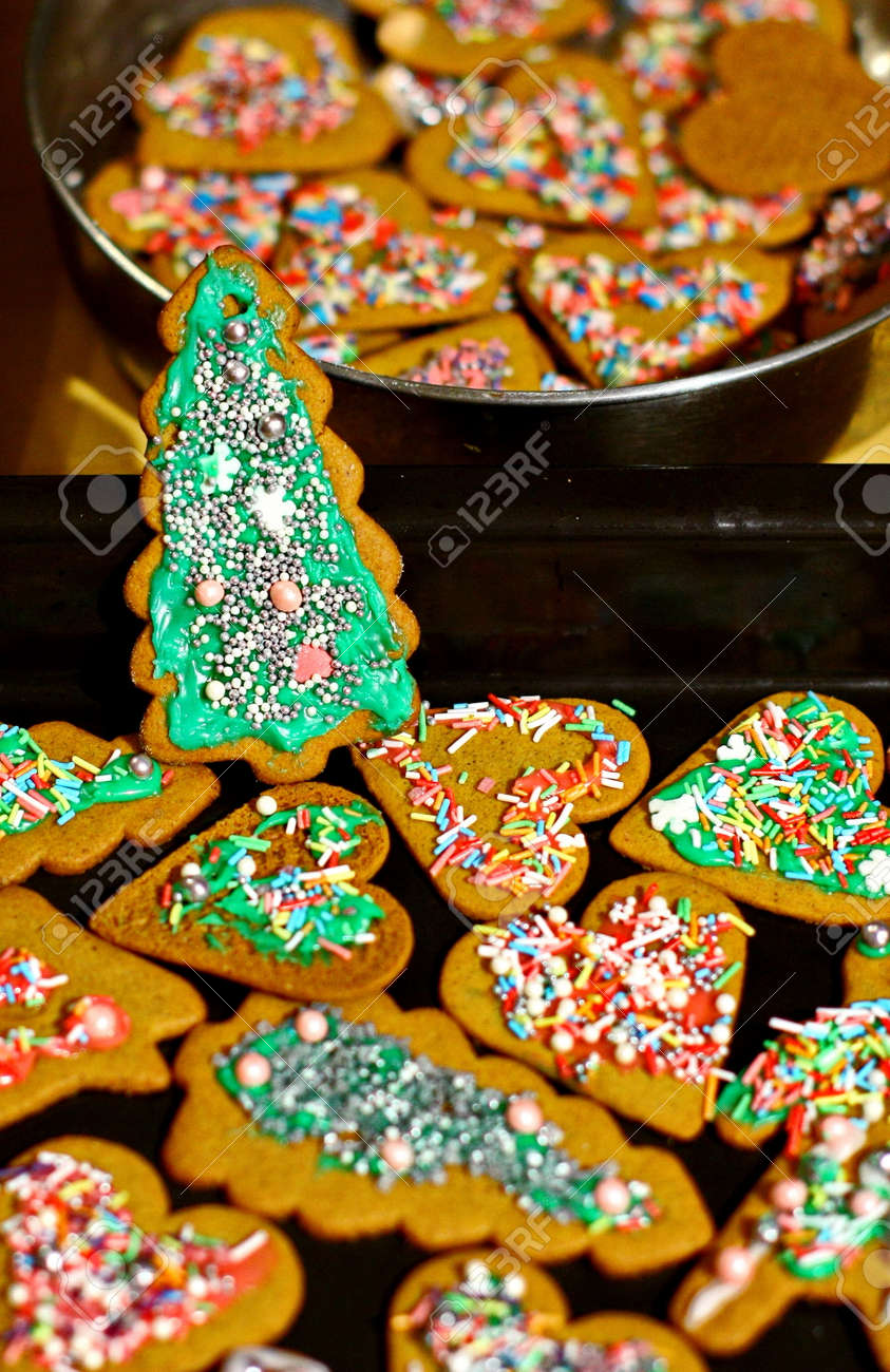 Homemade Christmas Cookies In Baking Dishes