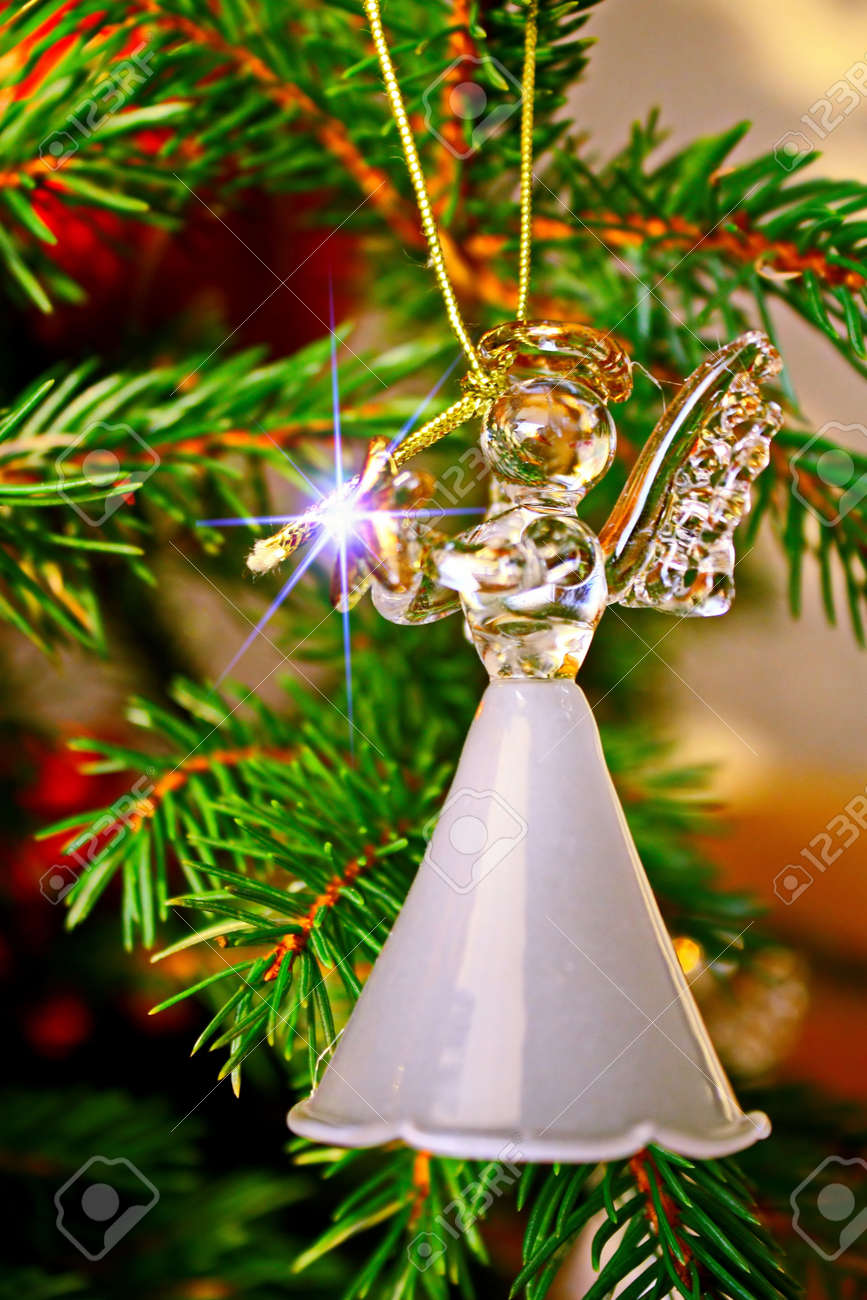 Toy Glass Angel Decoration On The Christmas Tree Stock Photo