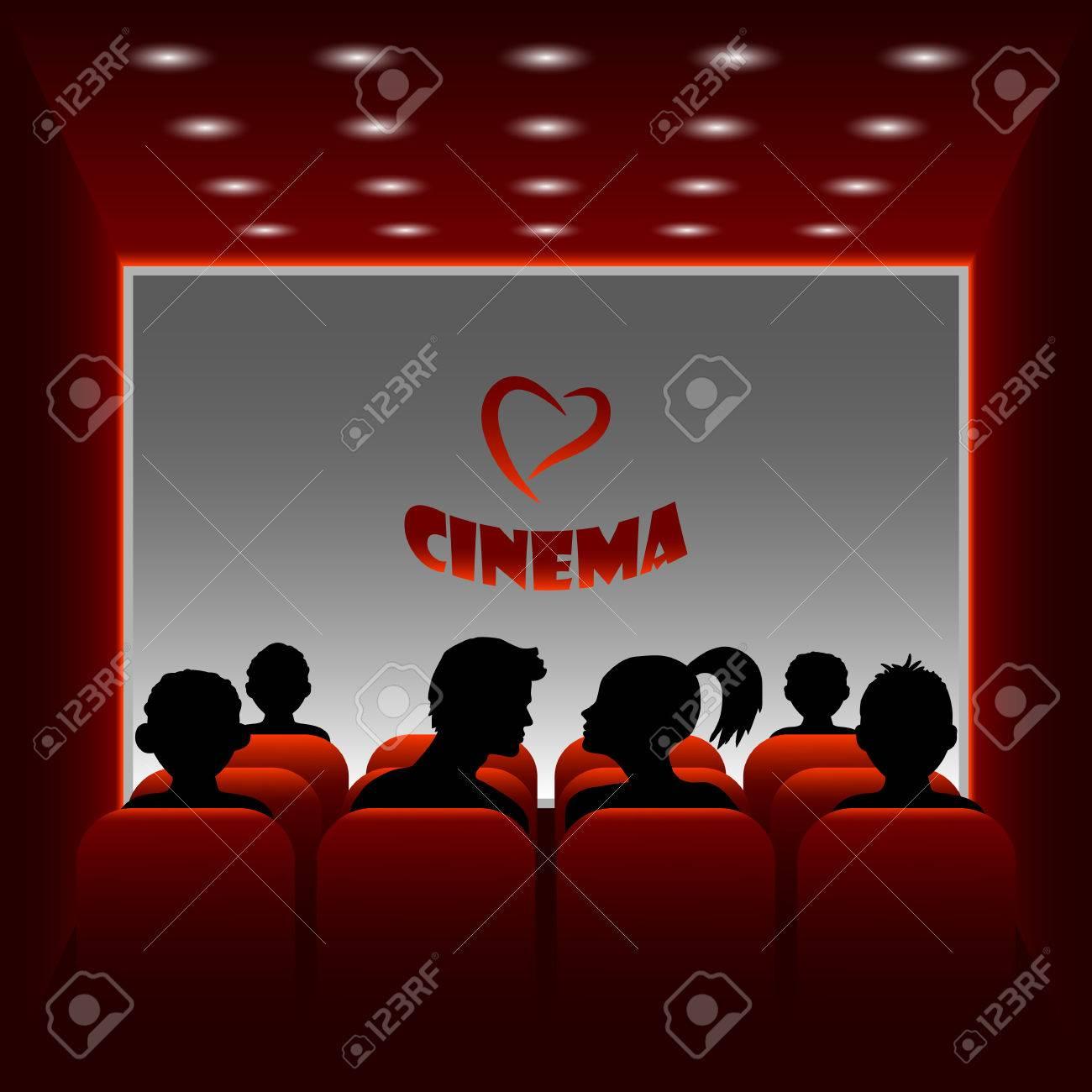 Salle De Cinema De Vecteur De Dessin Anime Illustration D Un Garcon