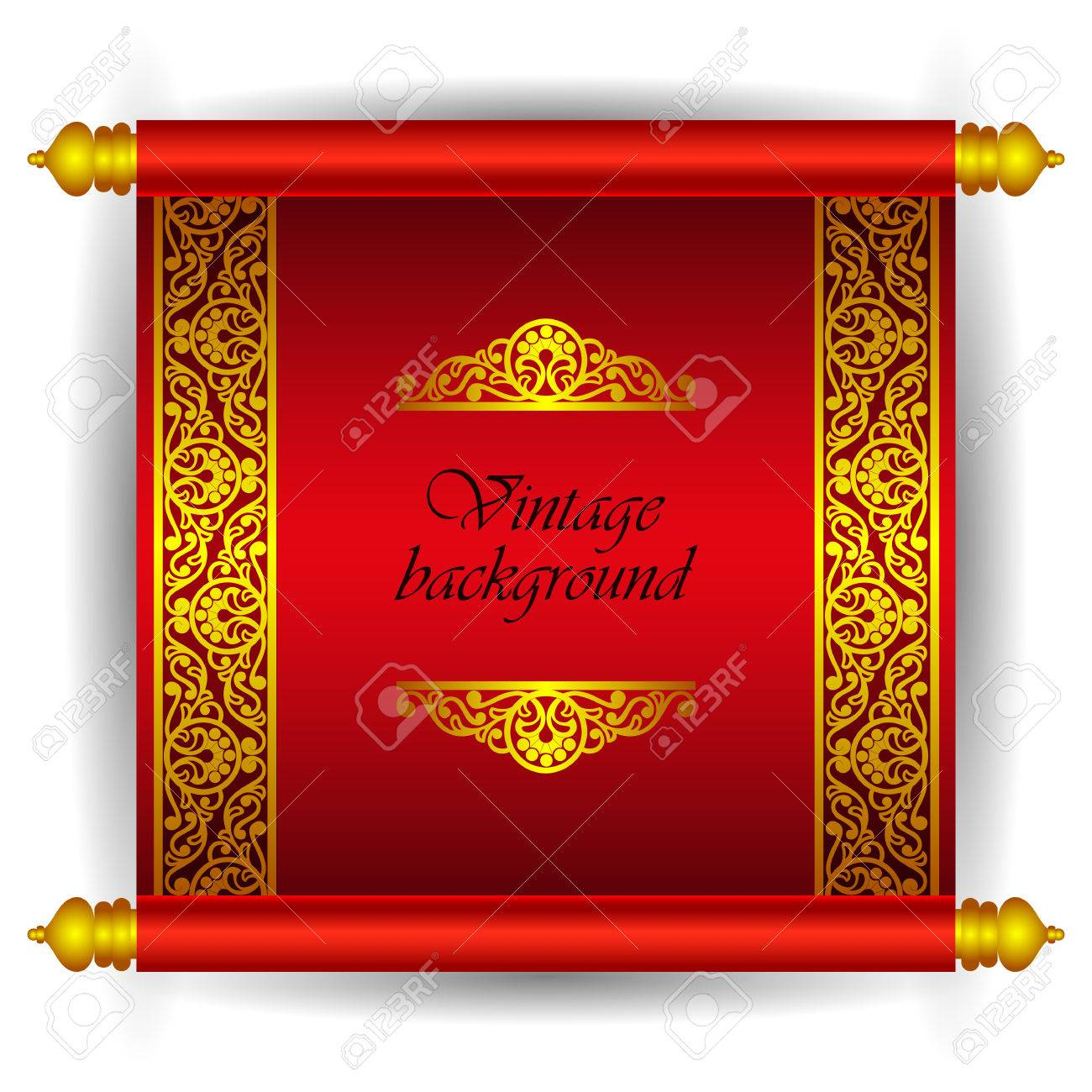 Vector scroll banner in royal luxury moroccan arabic style golden imagens vector scroll banner in royal luxury moroccan arabic style golden ribbon floral pattern on a red background as a template for creating stopboris Images
