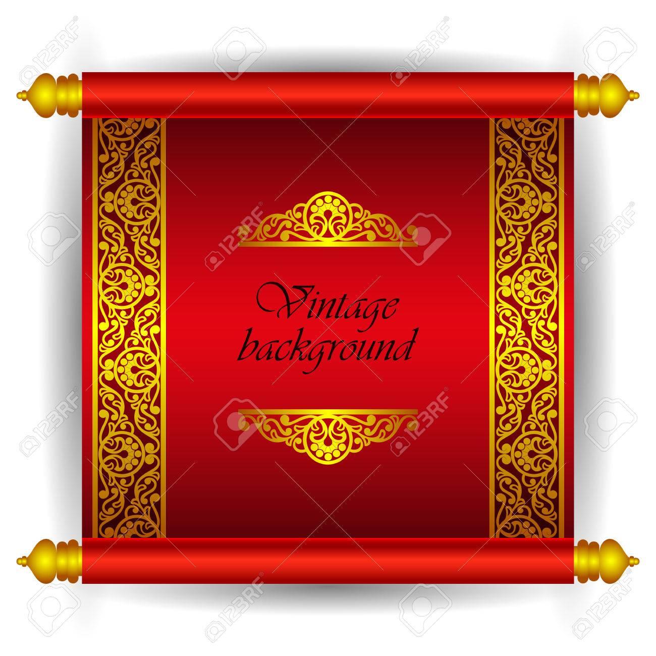 Vector Scroll Bannière Dans Le Style Arabe Marocain De Luxe Royal Or Ruban Motif Floral Sur Un Fond Rouge Comme Un Modèle Pour La Création
