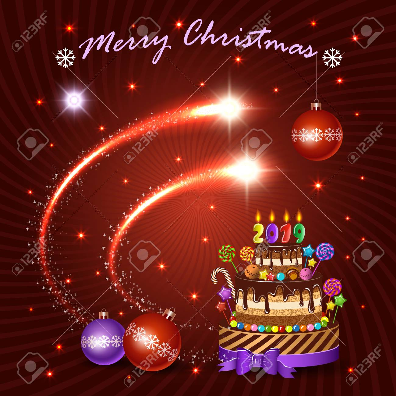 christmas and new year holiday vector banner shining flash elements cake and decorations for