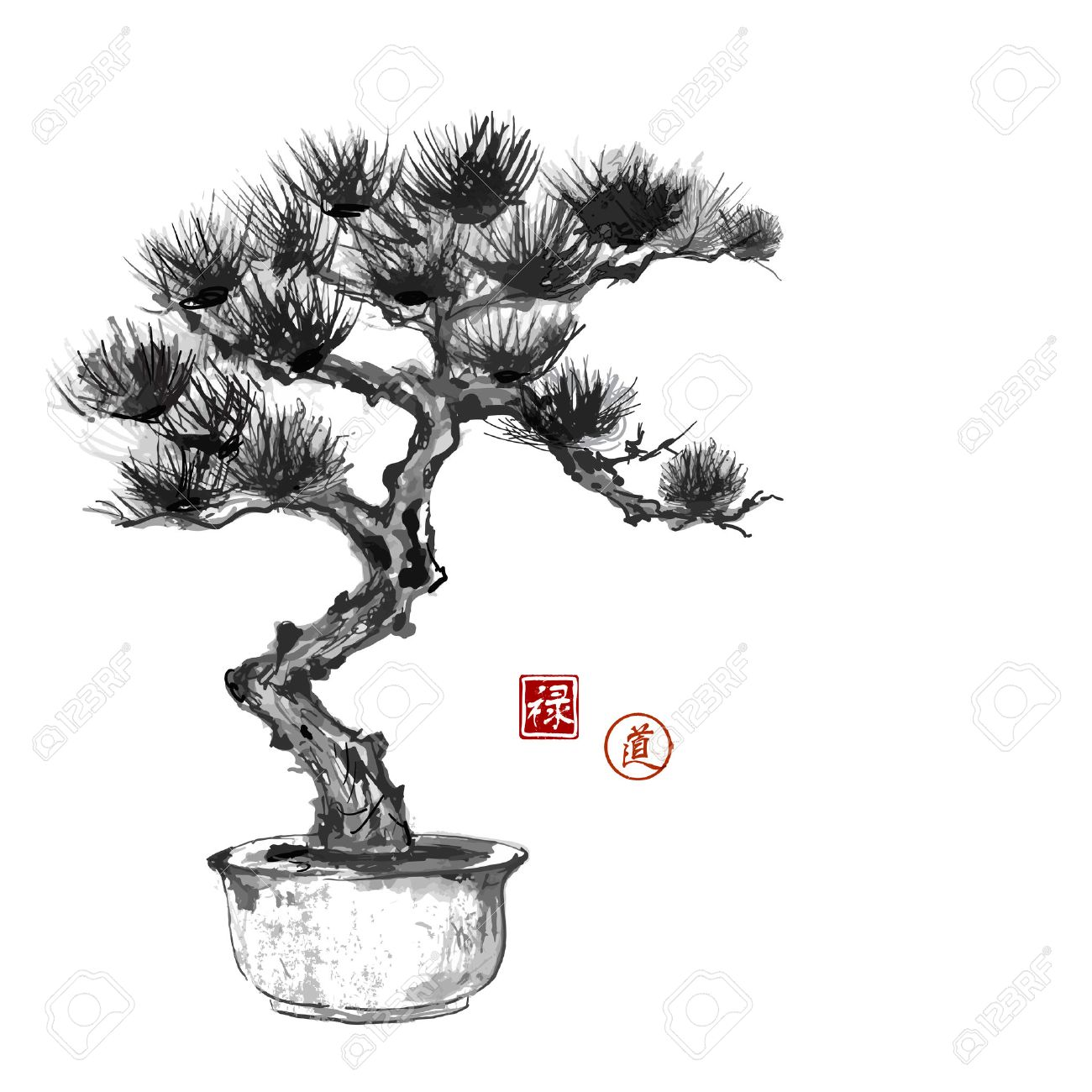 Bonsai pine tree hand hand-drawn with ink in traditional Japanese style sumi-e. Contains hieroglyphs - happiness, luck - 59495250