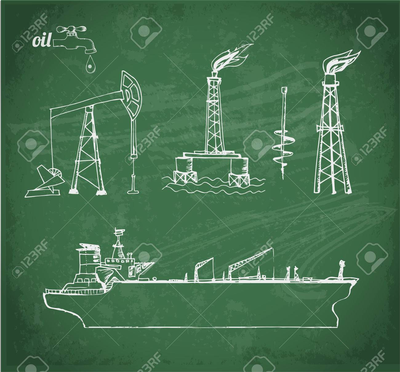 Sketches Of Oil Rigs, Offs Drilling Platform And Oil Tanker ...