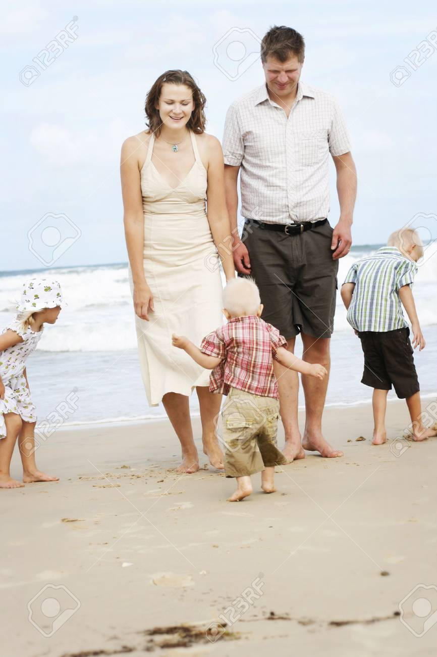 Family spending time together at the beach. Stock Photo - 4908840