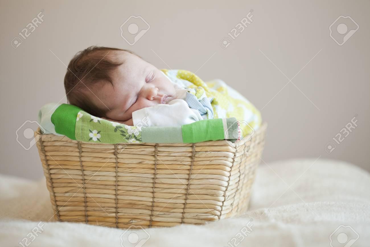 Canasta De Recien Nacido.Retrato De Un Lindo Sueno Del Recien Nacido Nina En Una Canasta