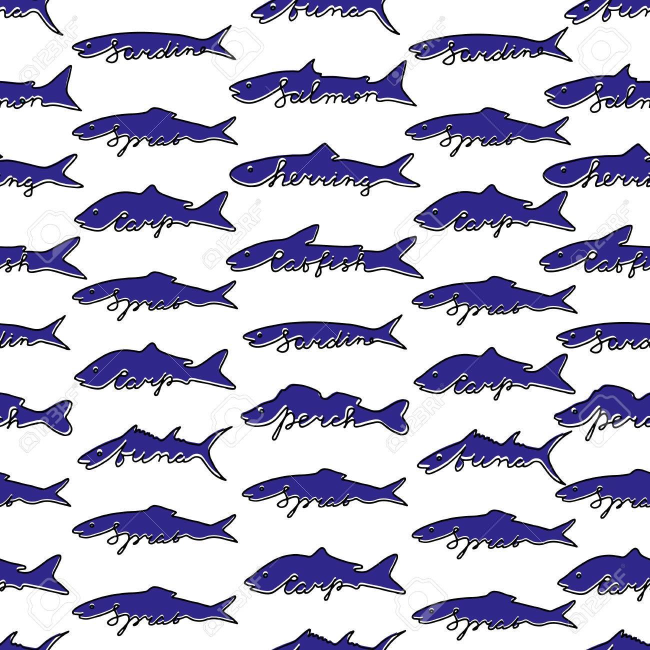 Patrón Sin Costuras Dibujado Mano De Los Pescados. Atún, Salmón ...