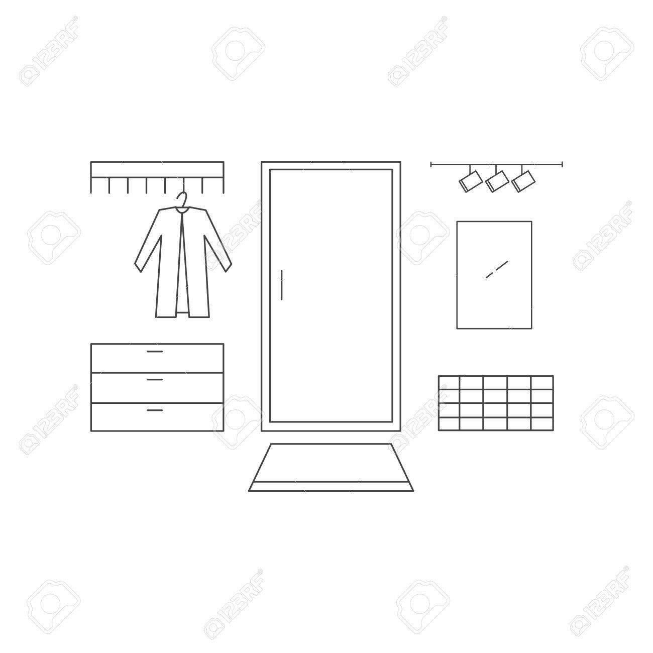 Hallway Line Vector Illustration. Interior Design In High Tech ...