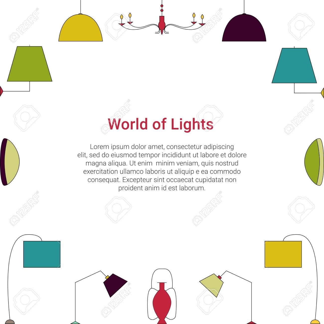 Concept Colore De Monde Des Lumieres Icones De Ligne De Lampe Sur Un Fond Blanc Modele De Vecteur De Type De Luminaire Clip Art Libres De Droits Vecteurs Et Illustration Image 76951891