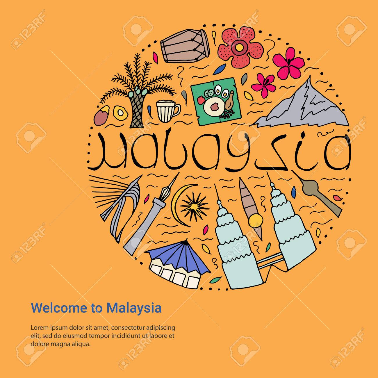 Welcome to malaysia design concept hand drawn symbols of malaysia welcome to malaysia design concept hand drawn symbols of malaysia template stock vector buycottarizona Gallery