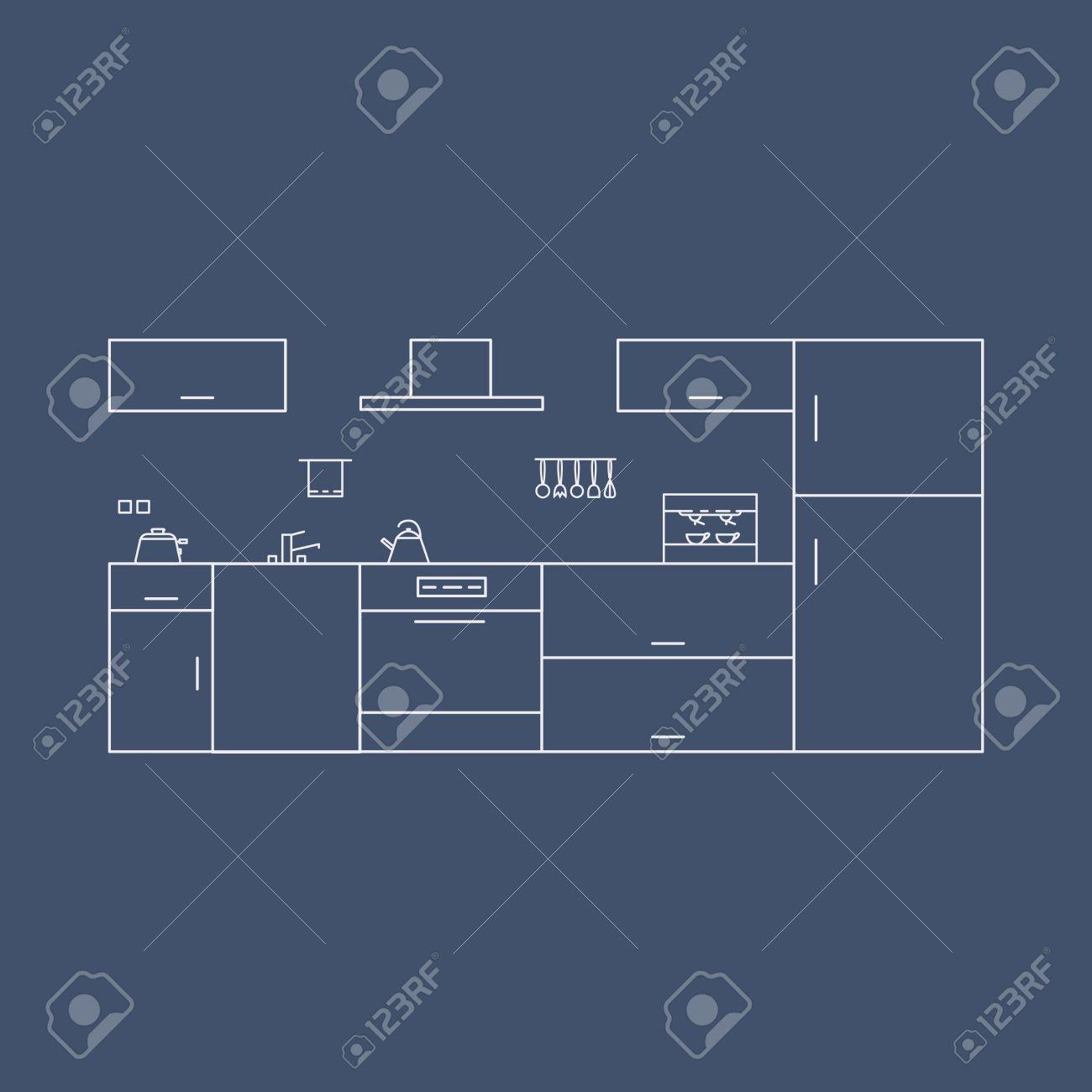 Interior De La Cocina En Estilo High-tech. Concepto De Diseño De ...
