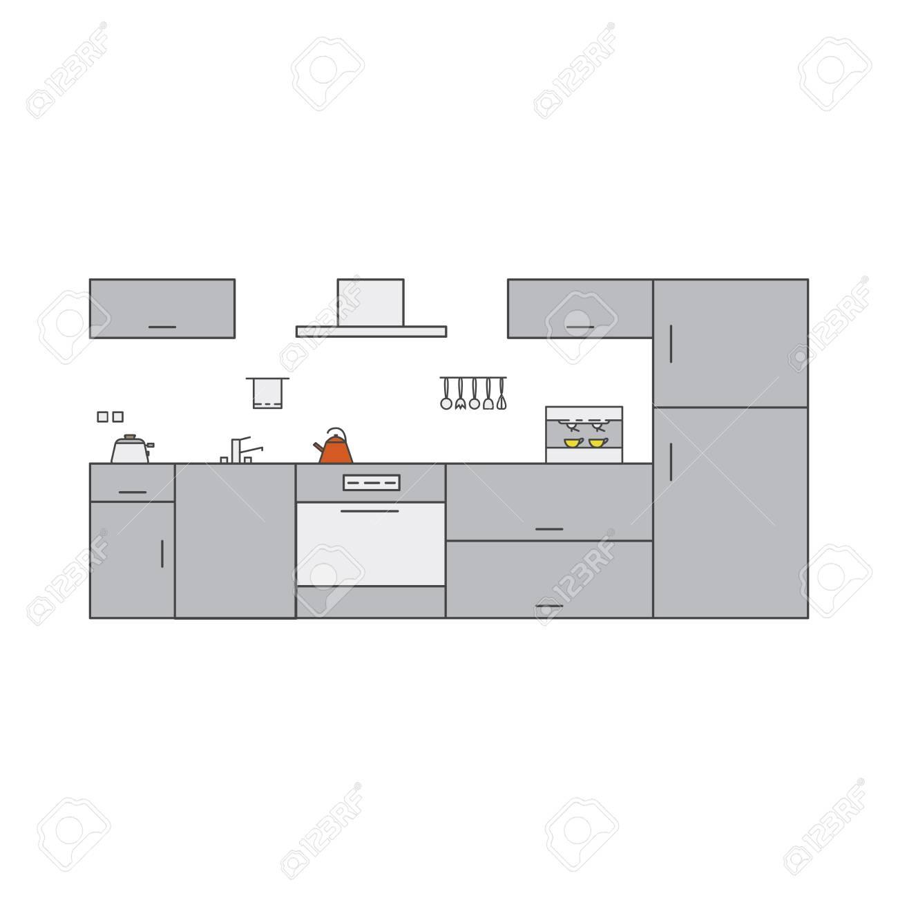 Kitchen Interior In High Tech Style Interior Design Concept
