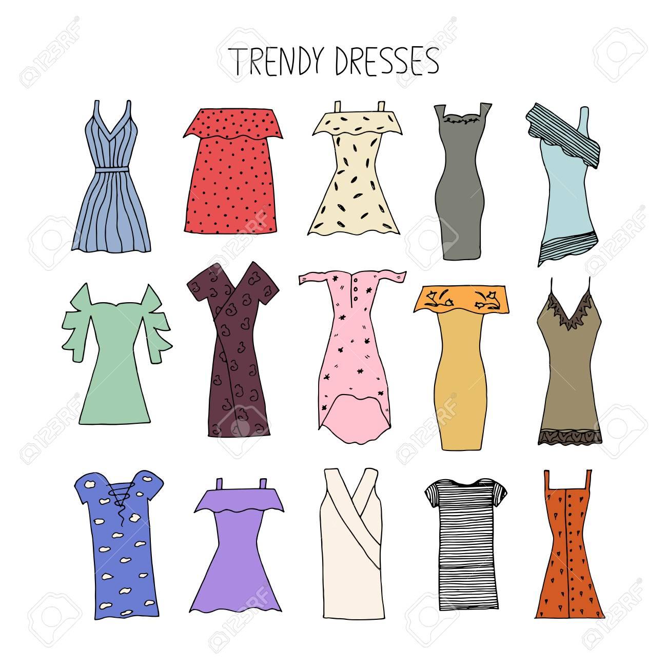 Mano Dibuja El Concepto De Diseño De Vestidos De Moda Vestidos De Moda Con Tira Vendaje Lunares Hombros Fríos Bordados Encajes Verano De 2017