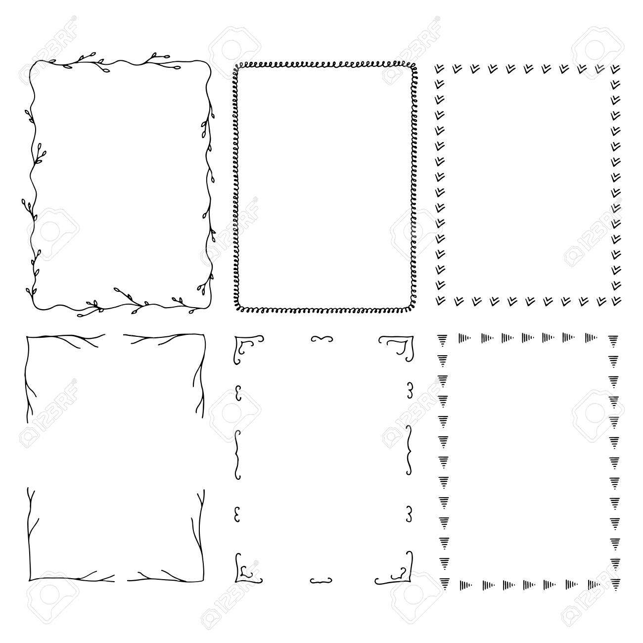 Hand Drawn Rectangular Frames Square Vector Illustration Royalty