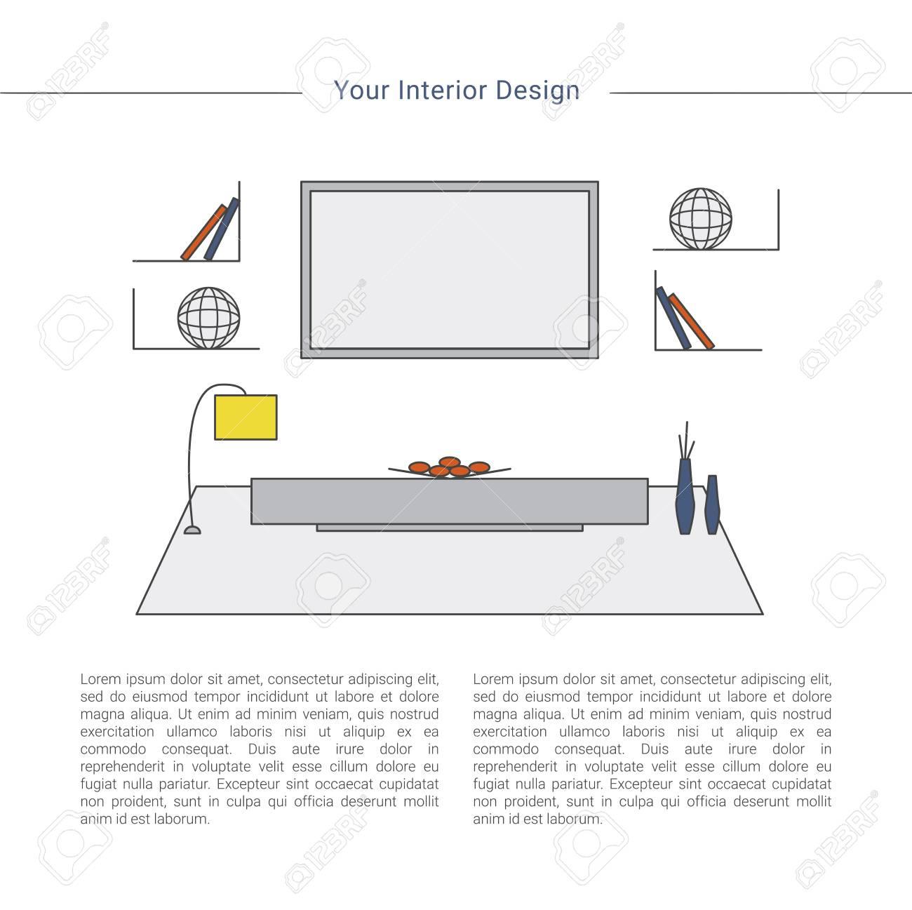 Living Room Interior Design Concept. Home Design Template. Colorful ...