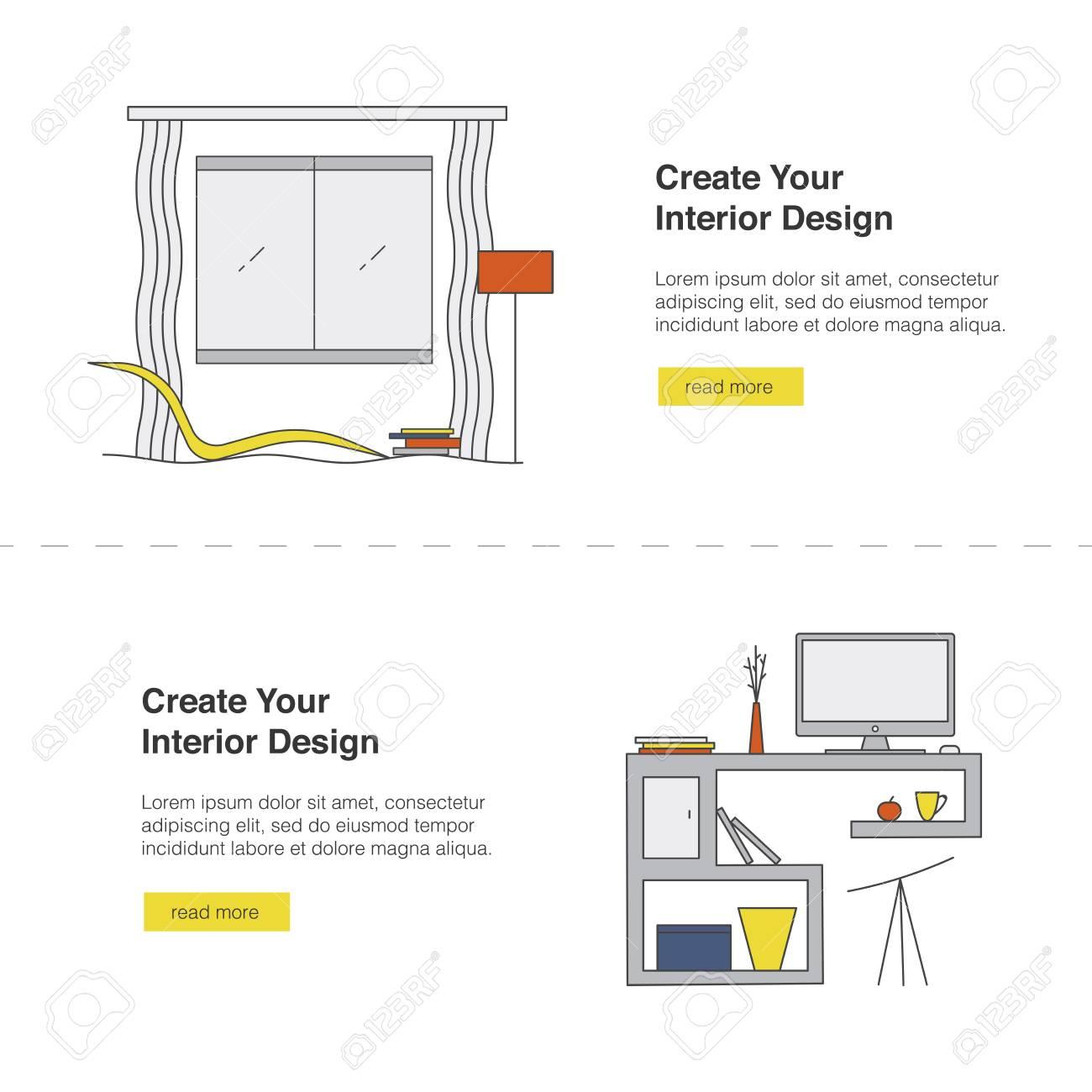 Il tuo disegno web banner web. design moderno modello di progettazione con  gli elementi di soggiorno soggiorno e lo spazio di lavoro in stile ...