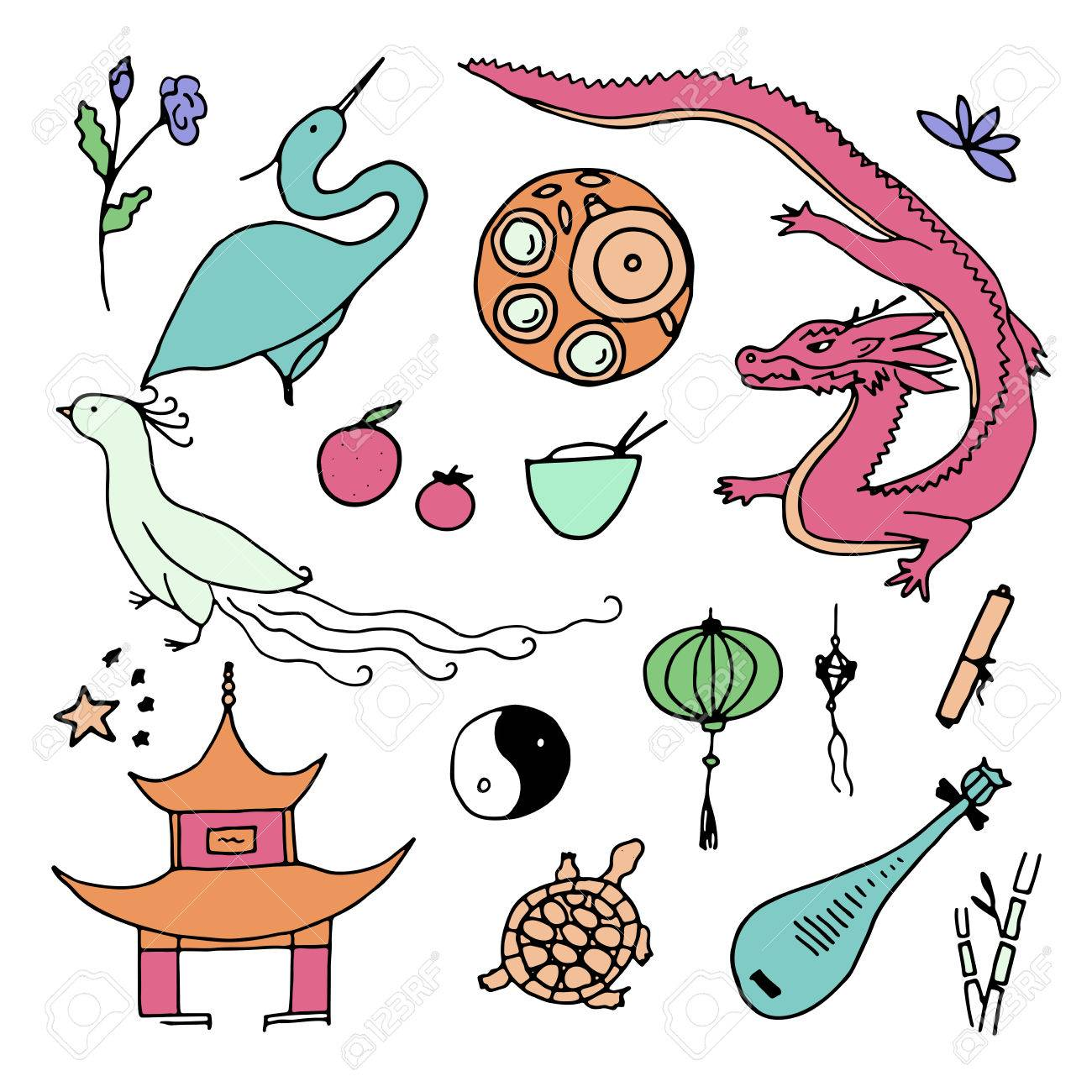 Culture Of China Icons Hand Drawn Chinese Symbols Vector